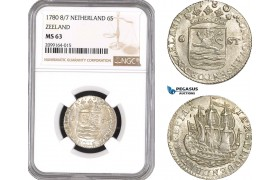 AE540, Netherlands, Zeeland, 6 Stuivers 1780 8/7, Silver, NGC MS63, Pop 1/0