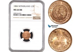 AE542, Netherlands, 1/2 Cent 1884, NGC MS64RB