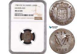 AE543, Netherlands East Indies, VOC, 1/2 Duit 1788, Gelderland Arms, NGC MS65BN, Pop 1/0