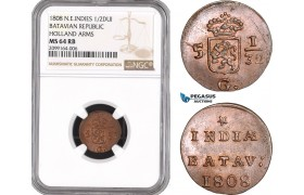 AE544, Netherlands East Indies, Batavian Republic, 1/2 Duit 1808, Holland Arms, NGC MS64RB
