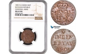 AE545, Netherlands East Indies, Batavian Republic, Duit 1805, Overyssel Arms, NGC MS63BN, Pop 1/0