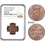 AE546, Netherlands East Indies, Batavian Republic, 1 Duit 1808, Holland Arms, NGC MS64BN
