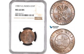 AE547, Netherlands East Indies, 1 Cent 1908, NGC MS64BN, Pop 1/0