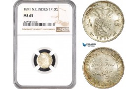 AE548, Netherlands East Indies, 1/10 Gulden 1891, Silver, NGC MS65, Top Pop