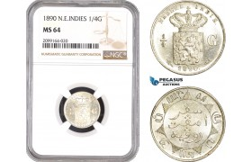 AE550, Netherlands East Indies, 1/4 Gulden 1890, Silver, NGC MS64, Pop 1/0, Prooflike!