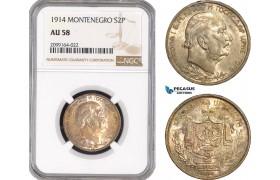 AE551, Montenegro, Nicholas I, 2 Perpera 1914, Vienna, Silver, NGC AU58