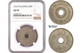 AE552, Palestine, 20 Mils 1933, London, NGC AU50
