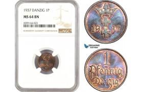 AE553, Poland, Danzig, 1 Pfennig 1937, NGC MS64BN