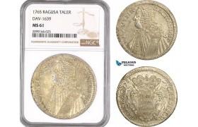 AE555, Ragusa, Tallero Rettorale 1765 GB, Silver, NGC MS61