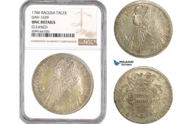 AE556, Ragusa, Tallero Rettorale 1766 GB, Silver, NGC UNC