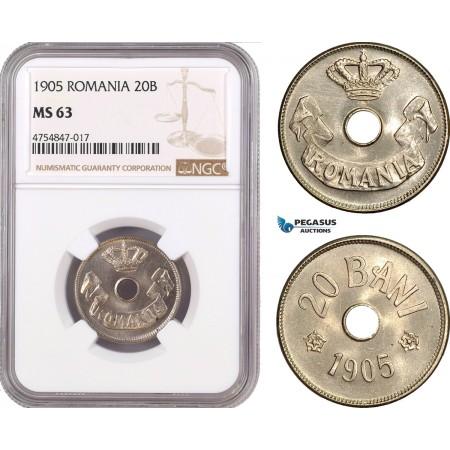 AE560, Romania, Carol I, 20 Bani 1905, Brussels, NGC MS63