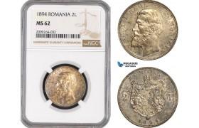 AE561, Romania, Carol I, 2 Lei 1894, Brussels, Silver, NGC MS62