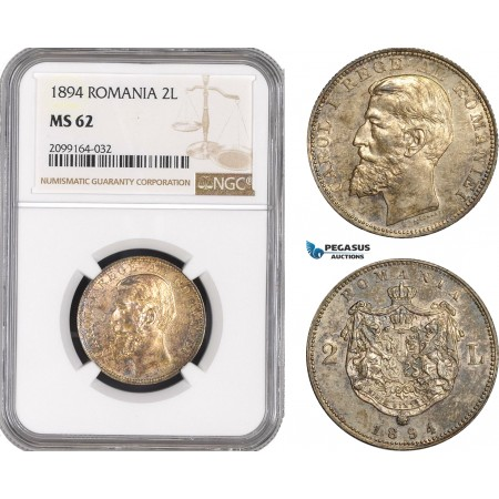 AE561, Romania, Carol I, 2 Lei 1894, Brussels, Silver, NGC MS62