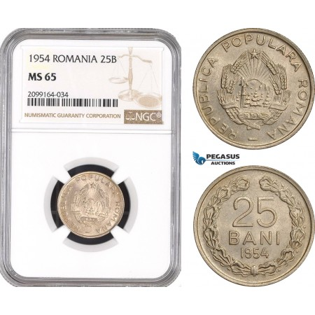 AE565, Romania, Peoples Republic, 25 Bani 1954, NGC MS65