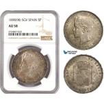 AE573, Spain, Alfonso XIII, 5 Pesetas 1898 (98) SGV, Valencia, Silver, NGC AU58