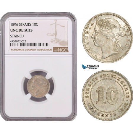 AE576, Straits Settlements, Victoria, 10 Cents 1896, Silver, NGC UNC Det.