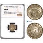 AE580, Switzerland, 5 Rappen 1873-B, Bern, Silver, NGC MS64, Top Pop