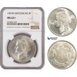 AE582, Switzerland, 5 Francs 1907-B, Bern, Silver, NGC MS62+