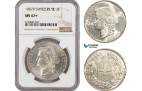AE582, Switzerland, 5 Francs 1907-B, Bern, Silver, NGC MS62+