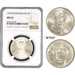 AE583, Switzerland, 5 Francs 1937-B, Bern, Silver, NGC MS63