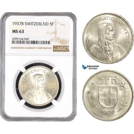 AE583, Switzerland, 5 Francs 1937-B, Bern, Silver, NGC MS63