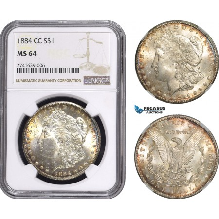 AE585, United States, Morgan Dollar 1884-CC, Carson City, Silver, NGC MS64, Toned!
