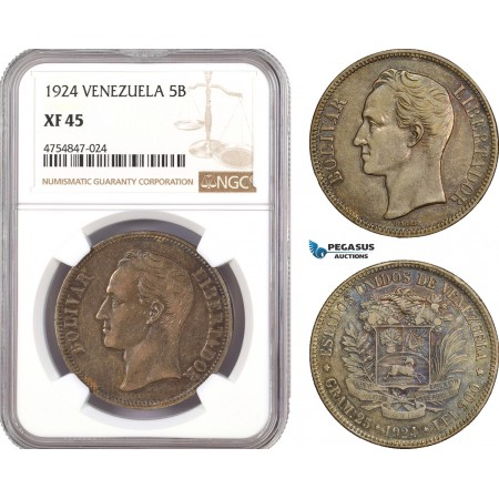 AE586, Venezuela, 5 Bolivares 1924, Silver, NGC XF45