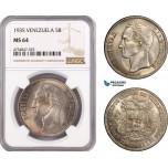 AE587, Venezuela, 5 Bolivares 1935, Silver, NGC MS64