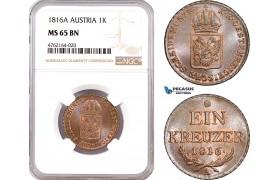 AE606, Austria, Franz II, 1 Kreuzer 1816-A, Vienna, NGC MS65BN