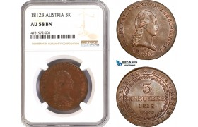 AE607-R, Austria, Franz II, 3 Kreuzer 1812-B, Kremnitz, NGC AU58BN
