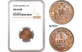AE608, Austria, Franz Joseph, 1 Kreuzer 1878, Vienna, NGC MS64RB