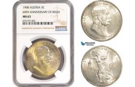"AE609-R, Austria, Franz Joseph, 5 Corona 1908, Vienna, Silver ""60TH ANNIVERSARY OF REIGN"" NGC MS63"