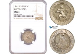 AE610, Belgium, Leopold I, 5 Centimes 1861, Brussels, Copper-Nickel, NGC MS63