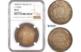 "AE611, Bolivia, 1 Boliviano 1868 PTS FE, Potosi, Silver ""11 Stars"" NGC MS61, Pop 1/1"