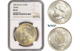 AE612-R, Brazil, Pedro II, 2000 Reis 1889, Silver, NGC MS63