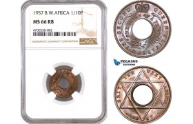 AE613, British West Africa, Elisabeth II, 1/10 Penny 1957, London, NGC MS66RB, Pop 1/0