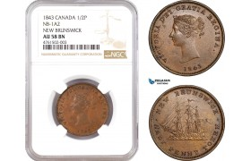AE616, Canada, New Brunswick, Victoria, 1/2 Penny Token 1843, NB-1A2, NGC AU58BN, Pop 1/0