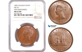 AE617, Canada, New Brunswick, Victoria, Penny Token 1843, NB-2A, NGC MS63BN