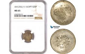 AE633, Ottoman Empire, Egypt, Abdulmecid, 20 Para AH1255/11, Misr, Silver, NGC MS65, Pop 1/0