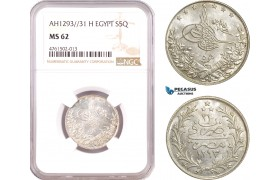AE634, Ottoman Empire, Egypt, Abdul Hamid II, 5 Qirsh 1293/31-H, Heaton, Silver, NGC MS62, Pop 1/0