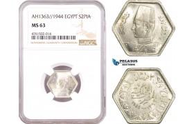 AE635, Egypt, Farouk, 2 Piastres AH1363/1944, Silver, NGC MS63