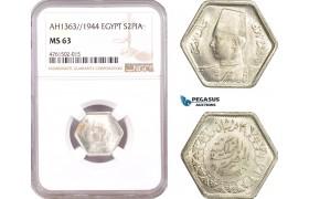 AE636, Egypt, Farouk, 2 Piastres AH1363/1944, Silver, NGC MS63