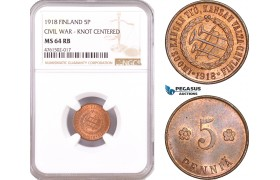 "AE638, Finland, Civil War, 5 Penniä 1918 ""Knot Centered"" NGC MS64RB"