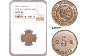 "AE639, Finland, Civil War, 5 Penniä 1918 ""Knot Above 1"" NGC AU58BN"
