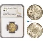 AE642-R, France, Napoleon III, 1 Franc 1866-A, Paris, Silver, NGC MS64