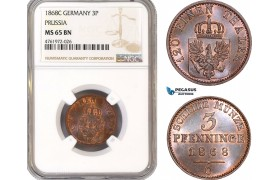 AE651-R, Germany, Prussia, 3 Pfenninge 1868-C, NGC MS65BN