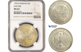 "AE652-R, Germany, Weimar, ""Oak Tree"" 5 Reichsmark 1932-A, Berlin, Silver, NGC MS65+"
