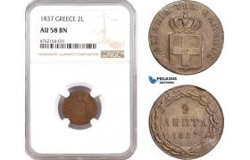 AE653, Greece, Othon, 2 Lepta 1837, Athens, NGC AU58BN