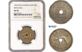 "AE655-R, Greenland, 25 Øre 1926, Copenhagen, ""With Hole"" NGC AU58"