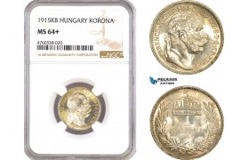AE657, Hungary, Franz Joseph, 1 Korona 1915-KB, Kremnitz, Silver, NGC MS64+